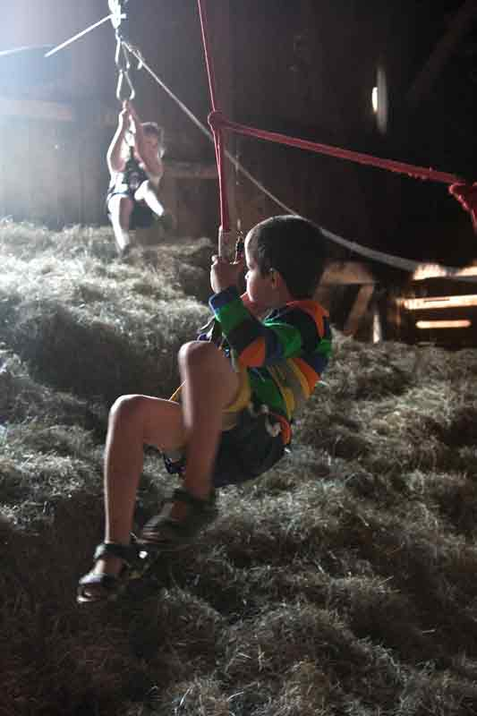 The zip line in the barn