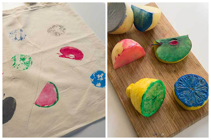 Diy Fabric Printing With Fruits Or Things To Do With The Kids