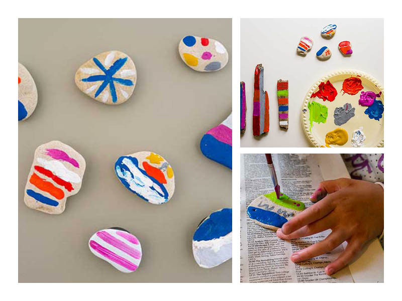 DIY painted stone magnets